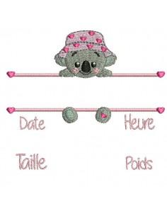 Motif de broderie machine  koala  journal de naissance fille
