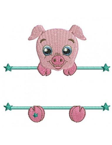 Motif de broderie machine cochon prénom garçon
