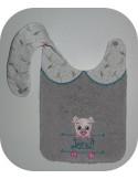 Instant downloads machine embroidery design machine  ITH  bib customizable koala boy