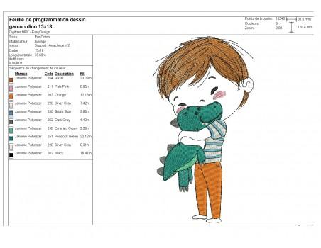 Motif de broderie machine garçon  avec son doudou dinosaure