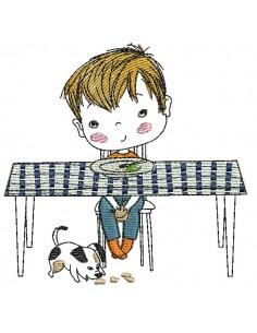 Motif de broderie machine garçon  à table