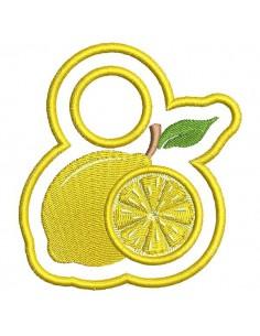 Motif de broderie machine accroche torchon citron ITH