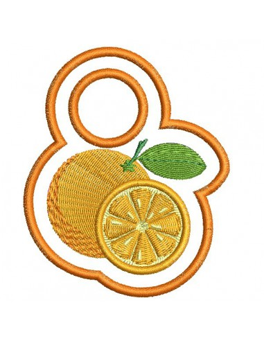 Motif de broderie machine accroche torchon orange  ITH