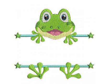 Motif de broderie machine grenouille prénom garçon