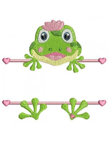 Motif de broderie machine grenouille prénom fille