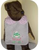 Instant downloads machine embroidery design machine  ITH  bib customizable  frog  girl
