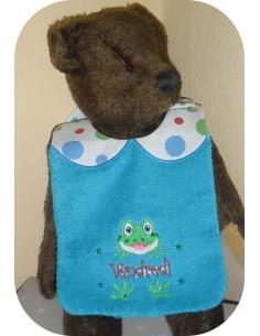 Instant downloads machine embroidery design machine  ITH  bib customizable  frog  boy