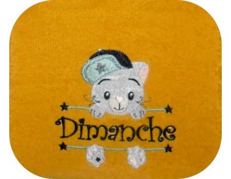 Motif de broderie machine chat prénom garçon