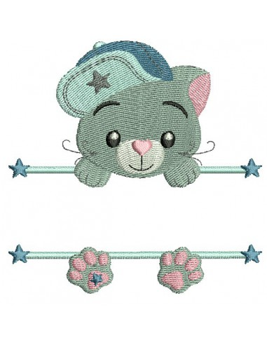 Instant download machine embroidery cat to customize for girl