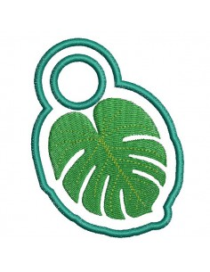 Instant download machine embroidery design  monstera Towel Topper