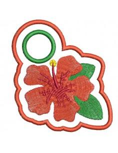 Motif de broderie machine accroche torchon hibiscus ITH