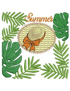 Motif de broderie machine  chapeau summer