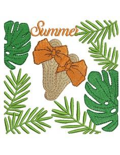 Motif de broderie machine claquettes summer