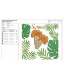 Instant download machine embroidery design  exotic leaf hat