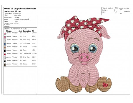Instant download machine embroidery pig with star