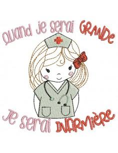 Motif de broderie machine quand je serai grande, je serai infirmière