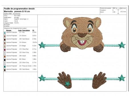 Motif de broderie machine marmotte prénom