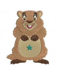 Motif de broderie machine marmotte