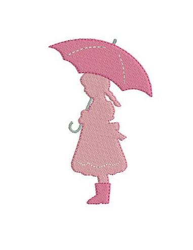 Motif de broderie fillette au parapluie