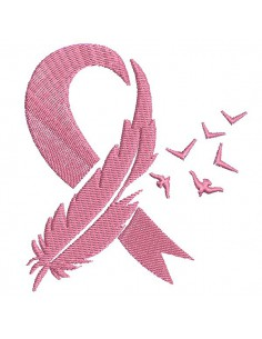 Instant download machine embroidery design text pink cancer ribbon