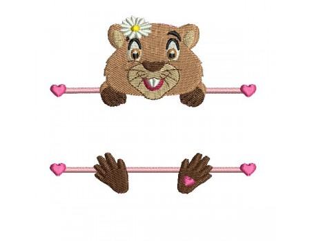 Motif de broderie machine marmotte prénom fille