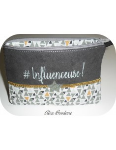 Motif de broderie machine ITH trousse influenceuse