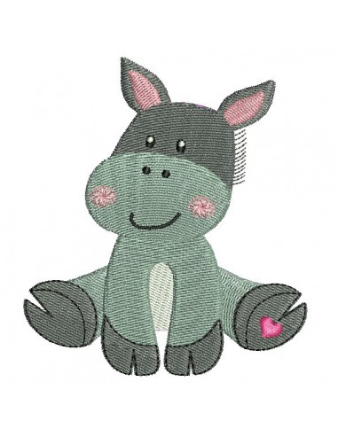 Instant download machine embroidery donkey with star