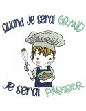 Instant download machine embroidery design  little boy chef