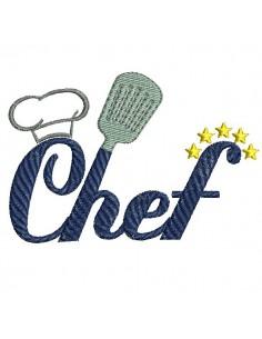 Motif de broderie machine cuisine chef étoilé