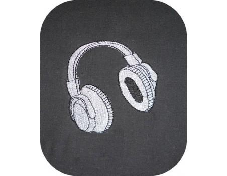 Motif de broderie casque audio