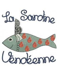 Motif de broderie machine sardine Vendéenne