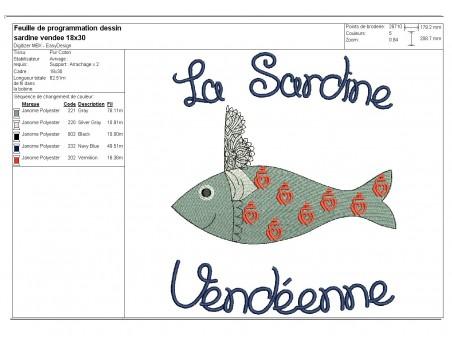 Instant download machine embroidery  Breton sardine