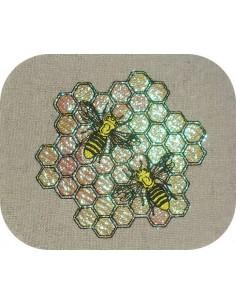 Motif de broderie machine les  abeilles sur une alvéole en mylar