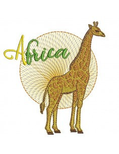 Motif de broderie machine girafe africa