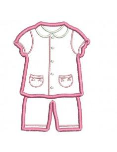 Motif de broderie machine pyjama fille