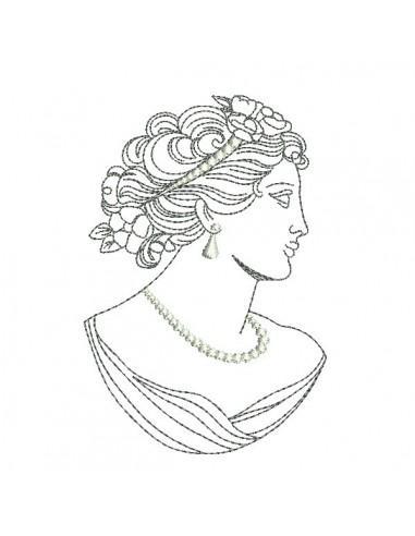 machine embroidery design woman vintage caméo