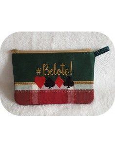 Motif de broderie machine ITH  trousse  belote