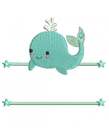 Motif de broderie machine baleine prénom garçon