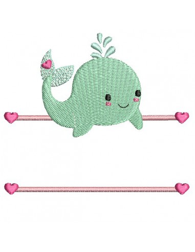 Instant download machine embroidery whale to customize for boy