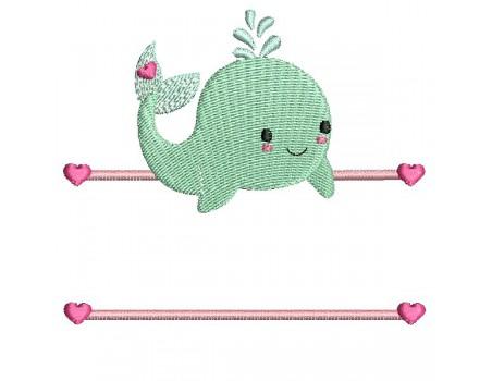 Motif de broderie machine baleine prénom fille