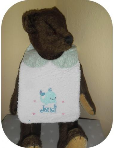 Instant downloads machine embroidery design machine  ITH  bib customizable  marmot for girl