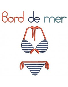 Motif de broderie machine maillot de bain  bord de mer