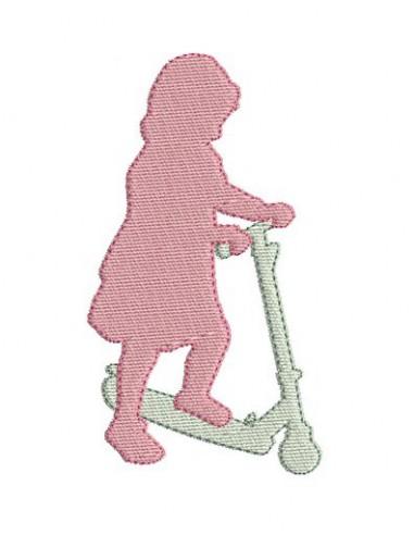 Motif de broderie fillette à la patinette
