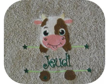 Motif de broderie machine vache prénom garçon