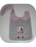 Instant downloads machine embroidery design machine  ITH  bib customizable  cow for boy