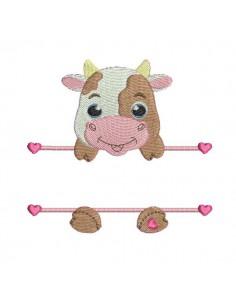 Motif de broderie machine vache prénom fille