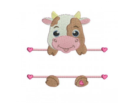 Instant download machine embroidery cow to customize for boy