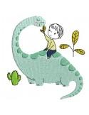 Embroidery design boy on a dinosaur