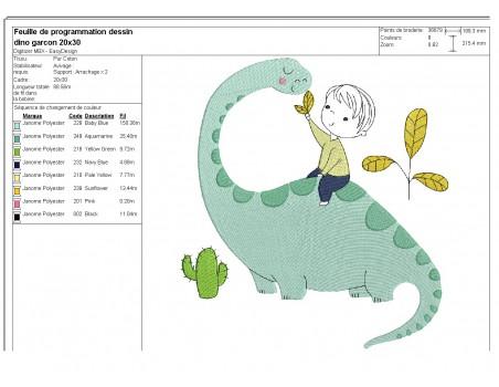 Motif de broderie machine garçon et dinosaure