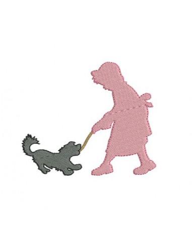 Motif de broderie fille avec son chien